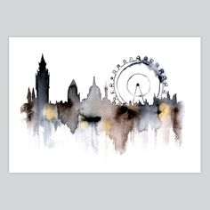 London city abstract ART PRINT watercolor painting via Etsy Art Et Illustration, Illustrations, Landscape Illustration, Painting & Drawing, Watercolor Paintings, Watercolours, Pastel Watercolor, Watercolor Ideas, Watercolor Drawing