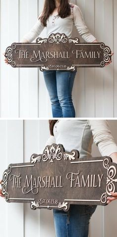 Letters On This Sign are not painted like other signs but cut out of wood and then mounted to the background giving the letters a effect. They really stand out! Trotec Laser, Laser Art, Do It Yourself Design, Do It Yourself Furniture, Family Name Signs, House Name Signs, Lettering, Personalized Signs, Home Projects