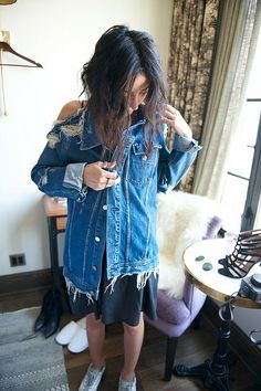 Destroyed denim jacket...love it! From http://wheredidugetthat.com/2014/06/the-full-monty-on-aziza-azim.html