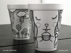 Cheeming Boey, is one of my new favorite artists. With just a simple sharpie and a foam cup he creates amazing works of art.