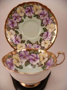 Vintage Paragon Tea Cup & Saucer Set ~ Double Warrant ~ Pansy & Gilt