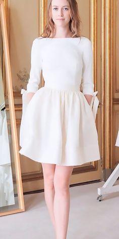 30 Simple Wedding Dresses For Elegant Brides ❤ simple wedding dresses short high neckline with sleeves delphinemanivet ❤ See more: http://www.weddingforward.com/simple-wedding-dresses/ #weddingforward #wedding #bride