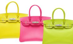 35cm Candy Birkins, from left Lime, Rose Tyrien, and Kiwi