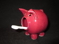 salt pig in dark raspberry pink with porcelain by BurntMillPotters, $30.00