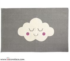 11.50€ -- Alfombra de algodón gris Nube, 45x75cm. Alfombras bonitas infantiles o adultos -- WWW.DECORATECA.COM