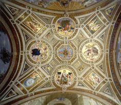Ватикан, Дворец, Станца делла Сеньятура (1509-1511). Роспись потолка (совместно с Содомой) (общий вид). Raffaello Santi (1483-1520)