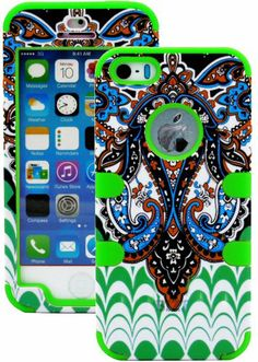 """myLife (TM) Bright Green - Retro Paisley Series (Neo Hypergrip Flex Gel) 3 Piece Case for iPhone 5/5S (5G) 5th Generation iTouch Smartphone by Apple (External 2 Piece Fitted On Hard Rubberized Plates + Internal Soft Silicone Easy Grip Bumper Gel + Lifetime Warranty + Sealed Inside myLife Authorized Packaging) """"Attention: This case comes grip easy smooth silicone that slides in to your pocket easily yet won't slip out of your hand"""" - http://www.mormonslike.com/mylife-tm-bright"""