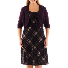 Perceptions Belted Plaid Dress with Jacket - Plus   found at @JCPenney