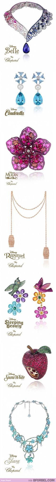 Disney Princess inspired Jewelry, by Chopard. They're a little gaudy, but I kinda like some of them.