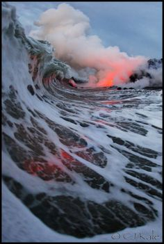 Photographers CJ Kale and Nick Selway waited more than five years to capture a never-before seen-view of an active volcano. When the conditions were finally right, the two friends risked their lives to get it. What were they seeking? An image of lava hitting the water shown through a breaking wave.