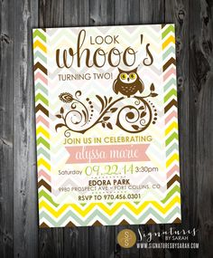 Printable WHOOO'S TWO owl birthday party invite by SignaturesbyS