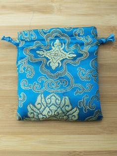 Premium Mala Bag - Turquoise Lotus Flower Brocade