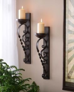 Add ambiance to your favorite room. Featuring a vintage, twisted scroll design, our Brown Twisted Pillar Sconce Set is an elegant addition to your wall decor! Wrought Iron Candle Holders, Sconces Living Room, Wrought Iron Decor, Boho Home, Iron Furniture, Tuscan Decorating, Candle Stand, Geek Decor, Home Decor Styles