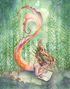 Goldfish Mermaid with Book Print - Seaweed Seashells and Starfish - Bedroom Wall Art - inches.a mermaid reading! Fantasy Kunst, Fantasy Art, Art Vampire, Doodle Drawing, Mermaid Fairy, Mermaid Book, Mermaids And Mermen, Fantasy Mermaids, Ouvrages D'art