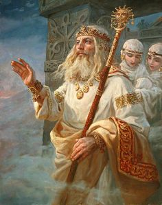 Ancient Slavic God the Creator of all things. Russian Folk, Russian Art, Odin And Thor, Pagan Gods, Templer, Medieval Fantasy, Gods And Goddesses, Pictures To Paint, Conte