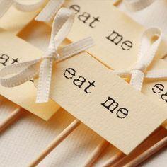 Alice in Wonderland style 'eat me' party picks