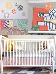 """Nursery DIY {Jessica Stout Design} :: fabric in quilting hoops :: jenny lind crib :: yarn wrapped letter """"E"""""""