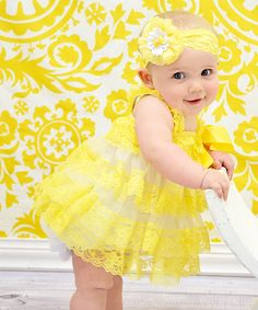 Look what I found on #zulily! Yellow Boutique Lace Dress & Headband - Infant & Toddler by Dress Up Dreams Boutique #zulilyfinds