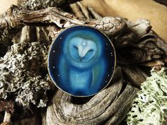 Touched by a star - owl brooch OR pendant - Hand painted on wood by Amaya de la Hoz.