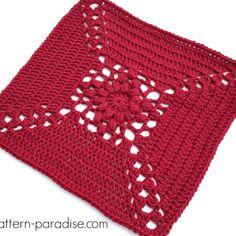 Free Crochet Pattern: Casablanca Crochet Square | Pattern Paradise Crochet Squares Afghan, Granny Square Afghan, Crochet Square Patterns, Crochet Blocks, Afghan Patterns, Crochet Motif, Granny Squares, Blanket Crochet, Square Blanket
