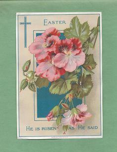 Lovely FLOWERS On Beautiful Unused VICTORIAN EASTER GREETING CARD