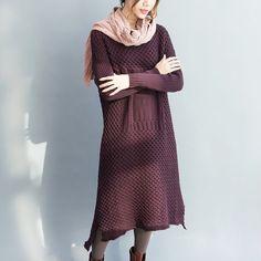 Pullover & Pullunder - Lila Webstoff, die Hemd Pullover Kleid - ein Designerstück von camilleyuxi bei DaWanda