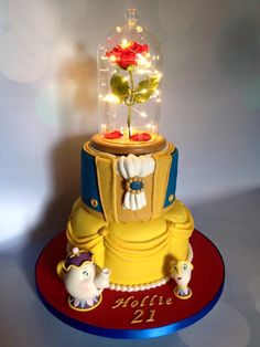 Beauty and the Beast cake, with lights Birthday cake