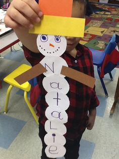 Making snowmen out of students' names. Cute!