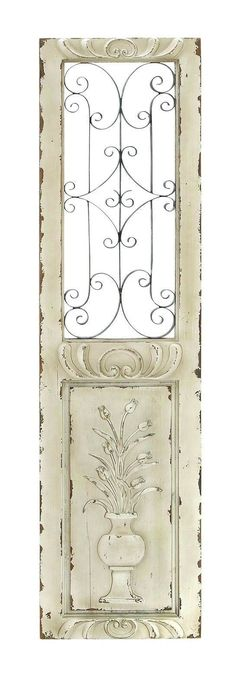 16x62 Tall Shabby White Distressed Wood Metal Wall Art Panel French Country
