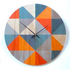 Objectify Grid Orange/Grey Plywood Wall Clock - Large