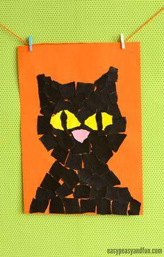 Black Cat Torn Paper Art, such a fun idea for little cat lovers. This project is perfect Halloween art for kindergarten. Halloween Cat Crafts, Chat Halloween, Link Halloween, Theme Halloween, Halloween Activities, Art Activities, Fall Crafts, Fall Halloween, Tears Art