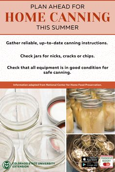 Canning season is coming quickly! Learn more about preparing for a successful and safe canning season by visiting the link. Colorado State University, Home Canning, Home Food, Food Safety, Preserving Food, Preserves, Conditioner, Social Media, Seasons