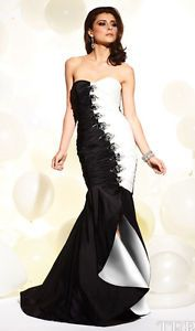 TERANI P654 Black/White Pageant Evening Formal Dress $500 NWT-AVail Size 6, 8