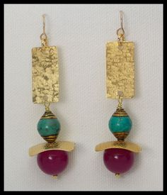JEWELS - Fuchsia Jade - Tibetan Turquoise - Handforged Textured Bronze Long Earrings by sandrawebsterjewelry on Etsy