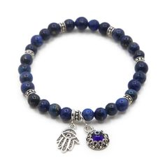 Sterling Silver Lapis Evil-Eye Hamsa Charm Bracelet -- Awesome products selected by Anna Churchill