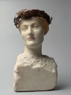 Fernand Khnopff (1858-1921) >em>Future or Young English Woman, 1898 Marble and brass on copper wire - 45.5 x 28 x 20 cm