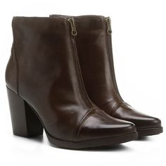 0b37488004 Bota Couro Cano Curto Shoestock Midi Ziper Feminino - Marrom