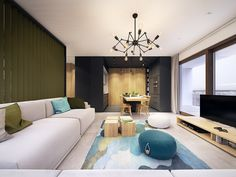 This Contemporary Apartment Pops With Turquoise Accents