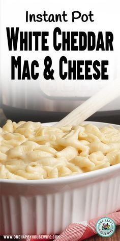 This easy recipe for Instant Pot White Cheddar Mac and Cheese is the creamiest and most delicious one ever. Parmesan, cream cheese and sharp white cheddar are combined to create a perfect cheesy and creamy combination. via recipes White Mac And Cheese, Cheddar Mac And Cheese, Queso Cheddar, White Cheddar, Instant Pot Pasta Recipe, Instant Pot Dinner Recipes, Instant Pot Pressure Cooker, Pressure Cooker Recipes, Pressure Cooking