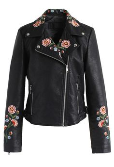 Drive Me to Garden Embroidered Faux Leather Jacket in Black - New Arrivals - Retro, Indie and Unique Fashion