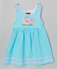 Another great find on #zulily! Aqua & Pink Bird Dress - Infant & Toddler by Lil Cactus #zulilyfinds