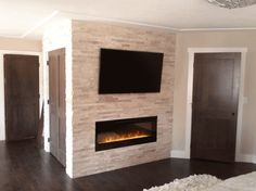Electric Fireplace And Tv Brick Wall: Best Fireplace Stone Wall Decoration Ideas For Modern Design Fireplace