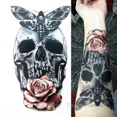 Skull With Moth And Flower Tattoo