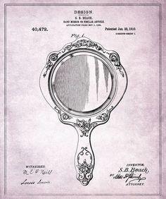 Hand Mirror 1910 Print