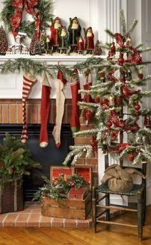 Trimming The Mantle - great collection of ideas for decorating a Christmas mantle - via The Antiquer's Field Guide
