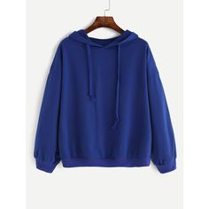 Royal Blue Drop Shoulder Drawstring Hooded Sweatshirt (635 THB) ❤ liked on Polyvore featuring tops, hoodies, sweatshirts, blue, royal blue top, blue hooded sweatshirt, hooded sweatshirt, blue hoodie and blue pullover hoodie