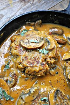 Vegan Lentil Salisbury Steak - Rabbit and Wolves - Lentils perfectly mimic steak in my vegan take on Salisbury steak with mushroom gravy. It is so delicious, easy and filled with protein. Vegan Dinner Recipes, Veggie Recipes, Whole Food Recipes, Vegetarian Recipes, Cooking Recipes, Healthy Recipes, Healthy Soup, Vegan Soul Food Recipes, Best Lentil Recipes