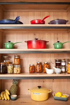 Pantry with Le Creuset. Would love to display our pieces someday