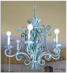 COLORWAYS                 Vintage French Wrought Iron Chandelier.   Rewired.       Painted with Annie Sloan       Chalk Paint