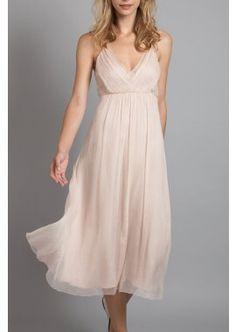 Tea length light pink dress, V neckline, simple ruffled skirt. Light weight chiffon dress for bridesmaids and evening parties